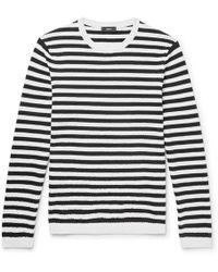 Theory - Roldans Slim-fit Striped Cotton-blend Jumper - Lyst