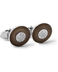 Dunhill - Sterling Silver, Enamel And Diamond Cufflinks - Lyst