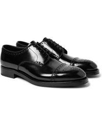 Prada - Cap-toe Spazzolato Leather Brogues - Lyst