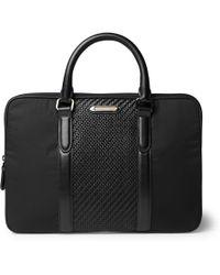 Ermenegildo Zegna - Pelle Tessuta Leather And Nylon Briefcase - Lyst