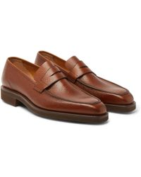 George Cleverley - George Pebble-grain Leather Penny Loafers - Lyst