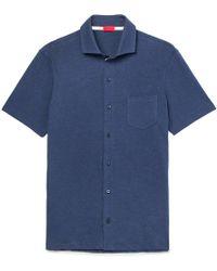 Isaia - Mélange Cotton-jersey Shirt - Lyst