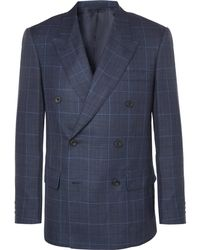 Kingsman - Harry's Navy Double-breasted Checked Wool, Silk And Linen-blend Suit Jacket - Lyst