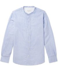 Officine Generale - Gaspard Grandad-collar Striped Cotton And Linen-blend Shirt - Lyst