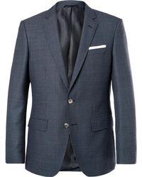 BOSS - Navy Hutsons Slim-fit Checked Virgin Wool Blazer - Lyst