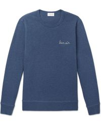 Maison Labiche - Embroidered Mélange Fleece-back Cotton-jersey Sweatshirt - Lyst