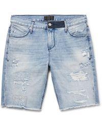 RTA - Slim-fit Embroidered Distressed Denim Shorts - Lyst