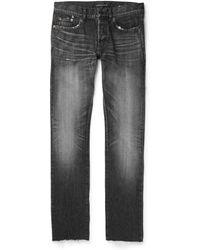 Saint Laurent - Slim-fit 17cm Distressed Denim Jeans - Lyst