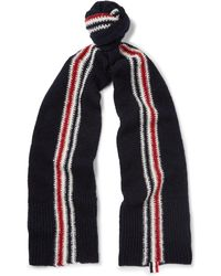 Thom Browne - Striped Intarsia Wool And Mohair-blend Scarf - Lyst