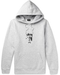 Stussy - Embroidered Fleece-back Jersey Hoodie - Lyst