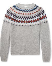Norse Projects - Birnir Fair Isle Virgin Wool Sweater - Lyst