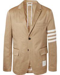 Thom Browne - Tan Slim-fit Unstructured Striped Cotton-twill Blazer - Lyst