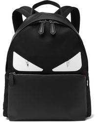 0f2f43f9f6f0 Fendi Bag Bugs Fur-trimmed And Nylon Backpack in Gray for Men - Lyst