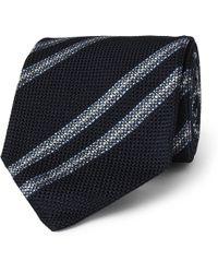 Drake's - 8cm Striped Woven Silk Tie - Lyst
