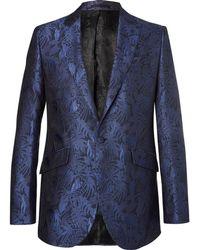 Favourbrook - Navy Newport Slim-fit Cotton And Silk-blend Brocade Tuxedo Jacket - Lyst