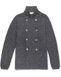 Brunello Cucinelli - Slim-fit Double-breasted Mélange Cotton Cardigan - Lyst