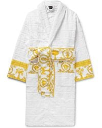 54922a0048 Versace - Satin-trimmed Logo-jacquard Cotton-terry Robe - Lyst