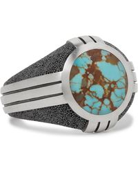 David Yurman - Sterling Silver Turquoise Signet Ring - Lyst