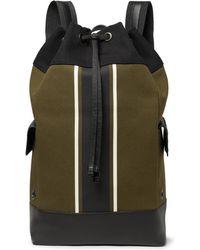 Bottega Veneta - Intrecciato Leather-trimmed Striped Canvas Backpack - Lyst