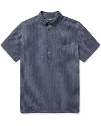 Todd Snyder - Button-down Collar Striped Slub Linen Shirt - Lyst