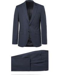 BOSS - Navy Helwerd Genius Slim-fit Checked Wool Three-piece Suit - Lyst