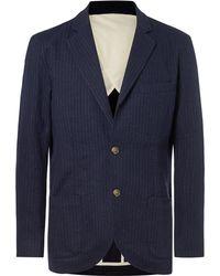 De Bonne Facture - Pinstriped Brushed Cotton And Wool-blend Blazer - Lyst