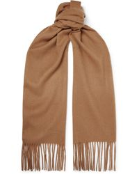 Mulberry Logo-embroidered Fringed Mélange Cashmere Scarf - Brown