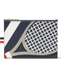 Thom Browne - Tennis Racket-patterned Pebble-grain Leather Pouch - Lyst