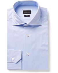 Ermenegildo Zegna - Light-blue Cutaway-collar Striped Cotton Shirt - Lyst