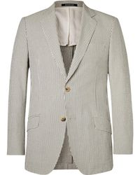 Richard James - Grey Seishin Slim-fit Striped Cotton-seersucker Blazer - Lyst