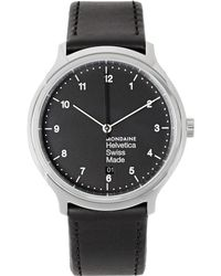 Mondaine - Helvetica No1 Stainless Steel And Leather Watch - Lyst