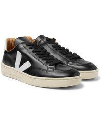 436e2005cb Veja - V-12 Bastille Rubber-trimmed Leather Sneakers - Lyst