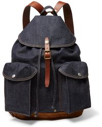 RRL - Riley Leather And Suede-trimmed Denim Backpack - Lyst