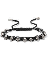 Alexander McQueen - Silver-tone Skull And Leather Bracelet - Lyst