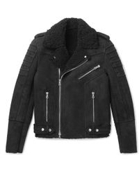 Balmain - Slim-fit Shearling Biker Jacket - Lyst