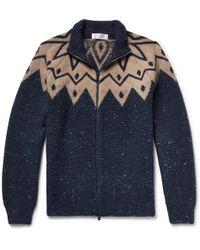 Brunello Cucinelli - Fair Isle Virgin Wool-blend Zip-up Cardigan - Lyst