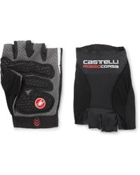 Castelli - Rosso Corsa Pavé Microsuede-trimmed Mesh Cycling Gloves - Lyst