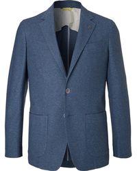Canali - Navy Knitted Cotton Blazer - Lyst