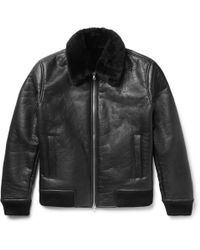 NN07 - Rowan Shearling-trimmed Leather Bomber Jacket - Lyst