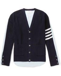 Thom Browne - Oxford Shirt Back Stripe Sleeve Cardigan - Lyst