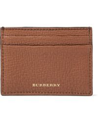 Burberry - Full-grain Leather And Checked Cotton-twill Cardholder - Lyst
