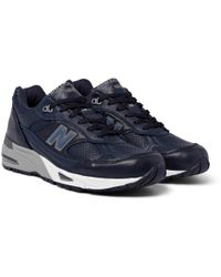 New Balance - 991 Leather And Mesh Trainers - Lyst