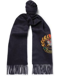 Burberry - Fringed Embroidered Cashmere Scarf - Lyst