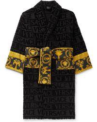Versace - Poplin-panelled Logo-jacquard Cotton-terry Robe - Lyst