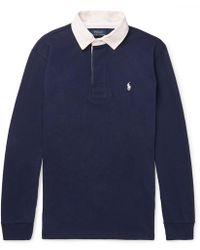 Polo Ralph Lauren - Contrast-trimmed Cotton-jersey Polo Shirt - Lyst