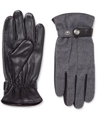 Dents - Guildford Mélange Flannel And Leather Gloves - Lyst