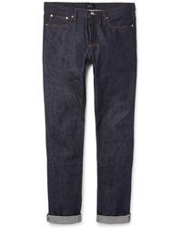 A.P.C. - Petit New Standard Skinny-fit Dry Selvedge Denim Jeans - Lyst