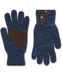 Oliver Spencer - Denford Suede-trimmed Mélange Wool-blend Gloves - Lyst