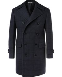 Canali - Kei Slim-fit Double-breasted Checked Wool Overcoat - Lyst