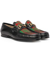 Gucci - Roos Horsebit Embroidered Leather And Checked Tweed Loafers - Lyst
